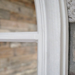 Large Arched Window Mirror in a light grey finish. Close up of frame.