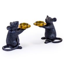 Load image into Gallery viewer, A pair of Mice Candle Holders. Black.