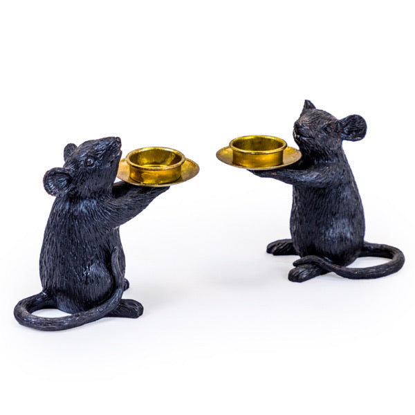A pair of Mice Candle Holders. Black.