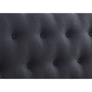 The Dublin Side Ottoman Bed in charcoal fabric. Close up image of charcoal fabric.