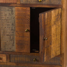 Load image into Gallery viewer, This is the Multi Drawer Reclaimed Industrial Storage Chest Close Up of Cupboard Doors With Brass Handles.