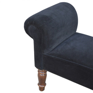 Jet Black Velvet Chaise, bedroom bench or window seat.