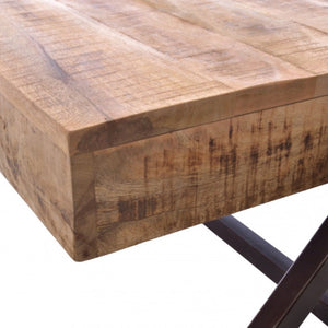 Industrial A-Frame Coffee Table. Close up of corner and side of table.