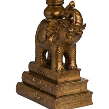 Load image into Gallery viewer, Antique Gold Elephant Table Lamp with emerald green velvet shade. Close up image of elephant.