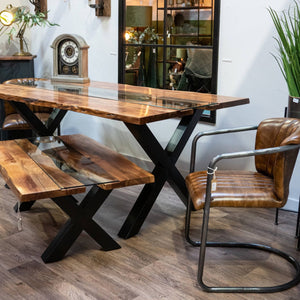Glass River Live Edge Dining Table. Showroom Image.