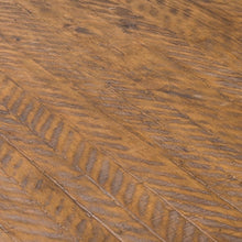 Load image into Gallery viewer, Savanna Gold Round Dining Table. Close up of parquet pine table top.