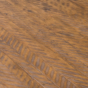 Savanna Gold Round Dining Table. Close up of parquet pine table top.