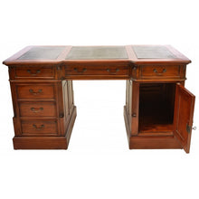 Load image into Gallery viewer, Solid Mahogany Leather Top Executive Desk