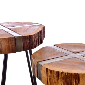 Industrial Sawn Side Tables. View from the side.