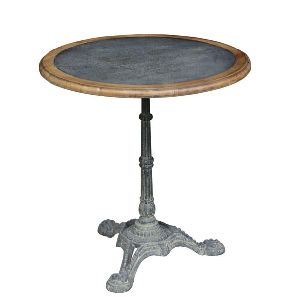 Round Parisian Cafe Dining Table with zinc inlay. Product image.