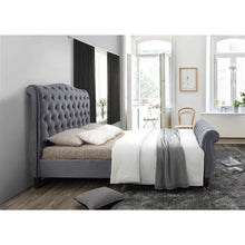 Load image into Gallery viewer, The Harrogate Bed. Upholstered in grey velvet. Lifestyle image view from the side.