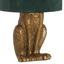 Load image into Gallery viewer, Gold Bunny Table Lamp With Green Velvet Shade. Close up image.