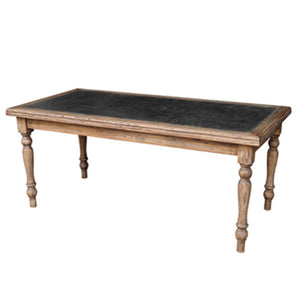 Parisian Turned Leg Dining Table with zinc inlay. Product image.