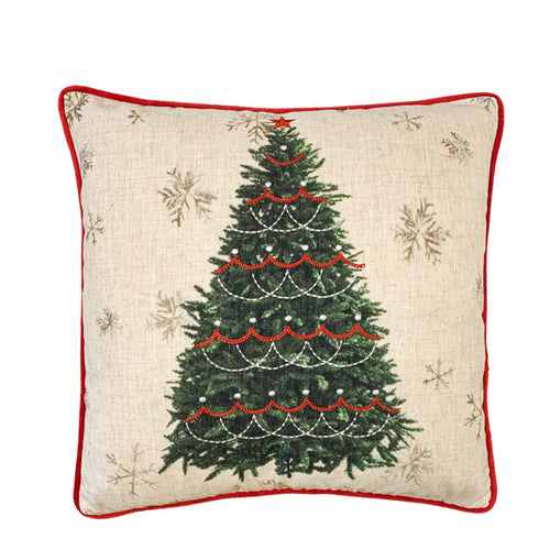 Embroidered Christmas Tree Cushion.