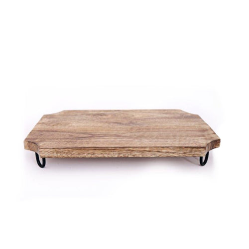 wooden chopping board with small iron wire legs