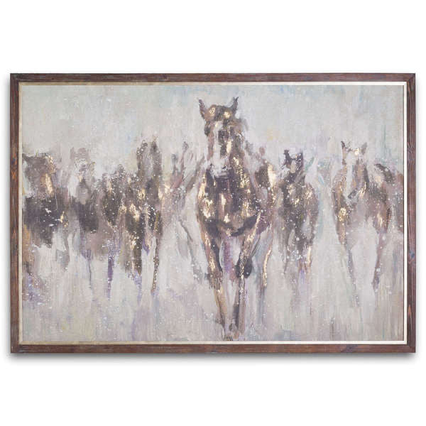 Wild Horses On Cement Board With Frame. Product image.