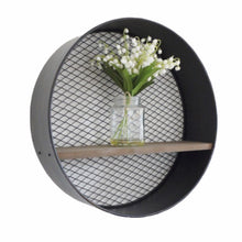Load image into Gallery viewer, Circular Metal Wall Shelf made of metal with mesh back and a wooden shelf.