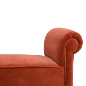 Burnt Orange Velvet Chaise, bedroom bench or window seat. Summer Deals Product Image