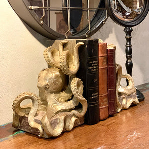 Gold Octopus Bookends. Lifestyle image.