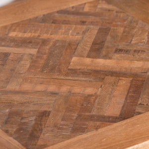 Parquet Side Table. Close up of acacia hardwood top.