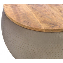 Load image into Gallery viewer, Industrial style round metal coffee table with rustic hardwood top.