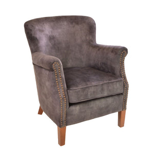 Velvet Occasional Chair Charcoal