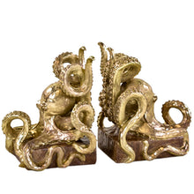 Load image into Gallery viewer, Gold Octopus Bookends
