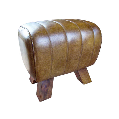 Genuine tan leather pommel horse style foot stool. Product image.
