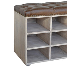 Load image into Gallery viewer, Buffalo Hide leather Shoe Storage Bench with a buttoned top made of mango wood in an acid wash grey finish.