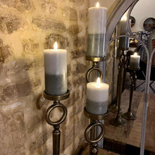 Load image into Gallery viewer, Antique Brass Candle Stands. Auburn Fox showroom image close up, Thrapston, Northamptonshire.