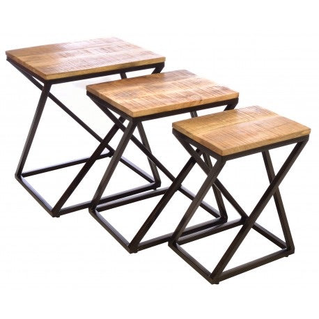 Stackable Geometric Industrial Nest of Tables. Mango wood tops with a steel zig zag base.