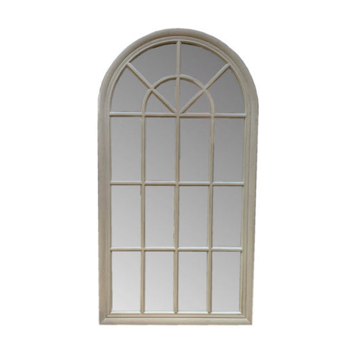 Large Arched Window Mirror in a light grey finish. Product Image.