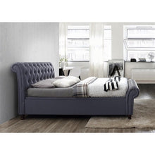 Load image into Gallery viewer, The Dublin Side Ottoman Bed in charcoal fabric. Lifestyle image. Side view of bed.