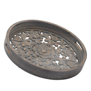 Set Of 2 Grey Wash Louis Trays. Product Image.