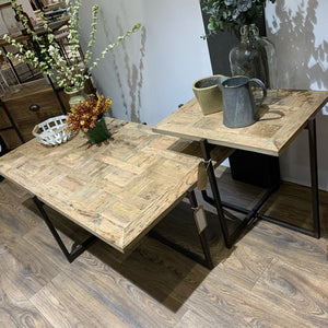 Reclaimed Oak Side Table with metal base. Lifestyle image.