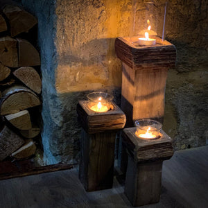 Set Of Rustic Candle Holders lifestyle image.