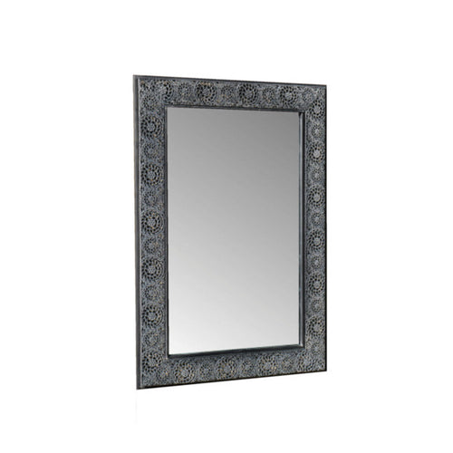 Outdoor Moroccan Garden Mirror with ornate metal frame. Product Image.