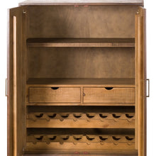 Load image into Gallery viewer, Savanna Gold Drinks Cabinet. Picture of inside the drinks cabinet showing wine storage.