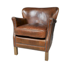 Load image into Gallery viewer, Leather Lounge Chair in cognac brown.
