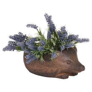 Hedgehog Rustic Planter with flowers in.