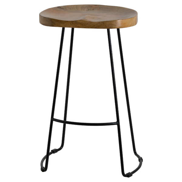 Hubert Hardwood barstool with shaped seat and metal legs. Product Image.