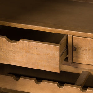Savanna Gold Drinks Cabinet. Image shows close up of drawers inside the cabinet.