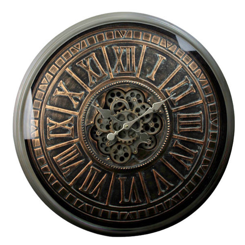 Large Bronzed Face Moving Gears Clock.