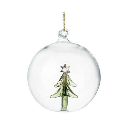 Glass Bauble With Glass Tree Decoration