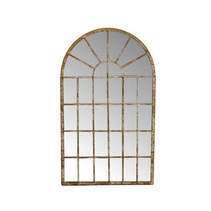 Outdoor garden mirror with metal frame and arched top. Product Image.