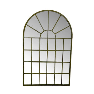 Large outdoor garden mirror with arched top. Product Image.
