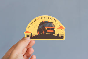 High Top Westfalia Sticker - Advanture Awaits