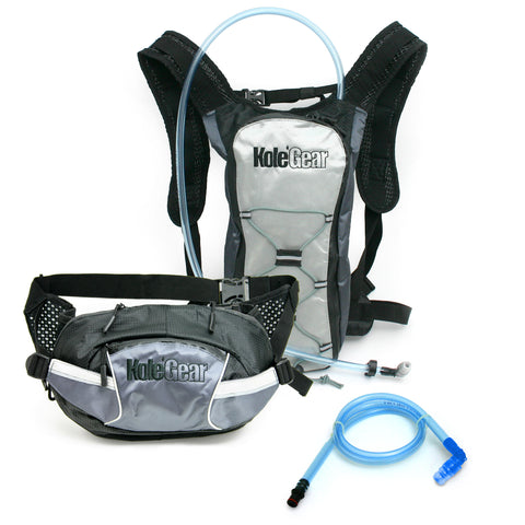 KoleGear Backpack & Waistpack Pressurized Hydration System Combo Pack