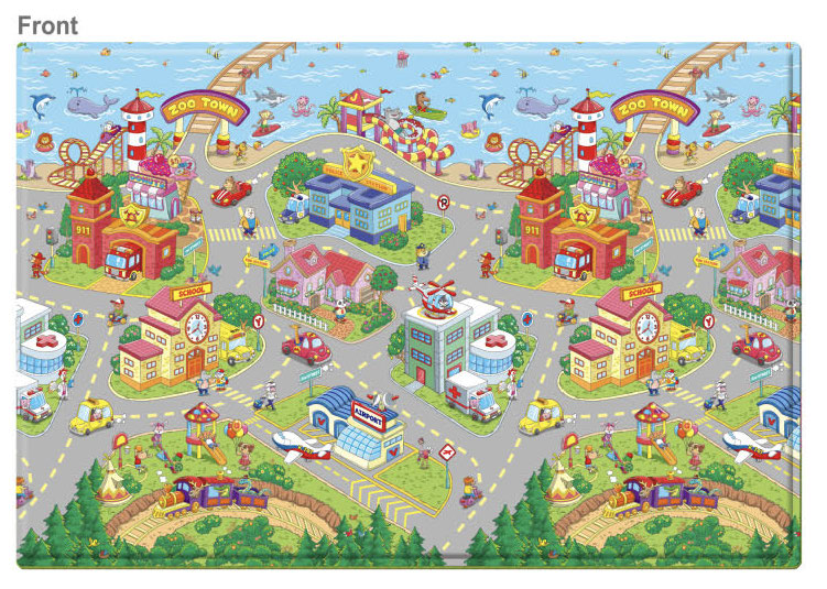 LARGE Double Sided Play Mat – Zoo Town