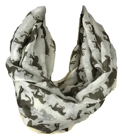 Galloping Horse Infinity Scarf Clothes and Accessories Horse & Soul Western Wear Cream and Brown